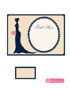Elegant Bridal Shower Invitation Template in Blue Color