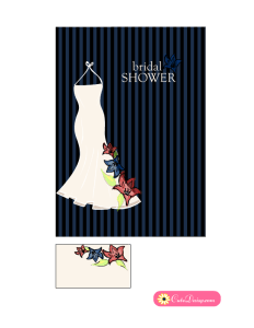 Bridal Shower Invitations in Black and Blue Color