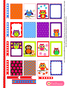Free Printable Colorful Owl Stickers for Erin Condren Life Planner