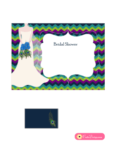 Free Printable Peacock themed Bridal Shower Invitation Template