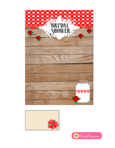 Rustic Bridal Shower Invitation Template Red