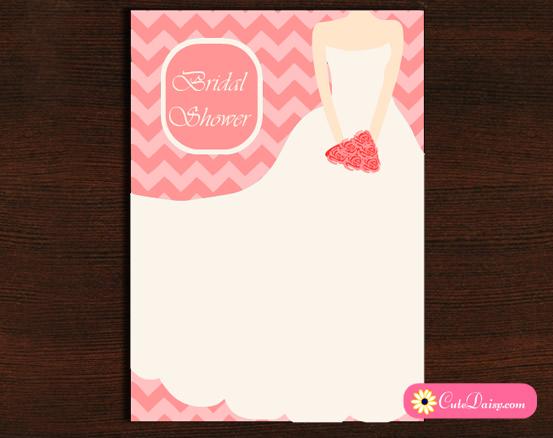 Bridal Shower Invitation featuring Chevron and Bridal Dress