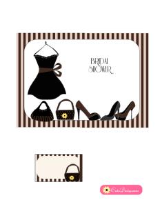Free Printable Little Black Dress themed Bridal Shower Invitation