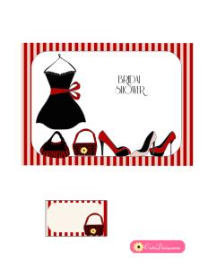 Little Black Dress themed Bridal Shower Invitation in Red Color