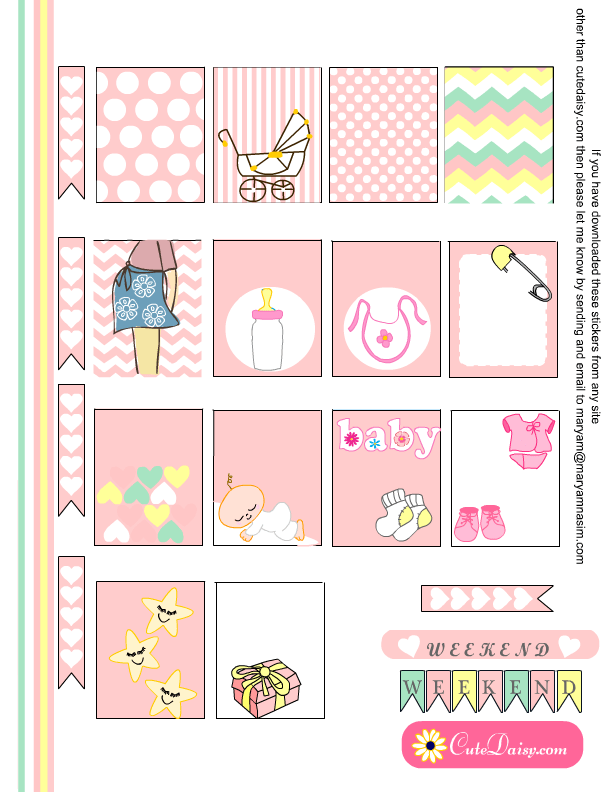 Free Printable Baby themed Planner Stickers