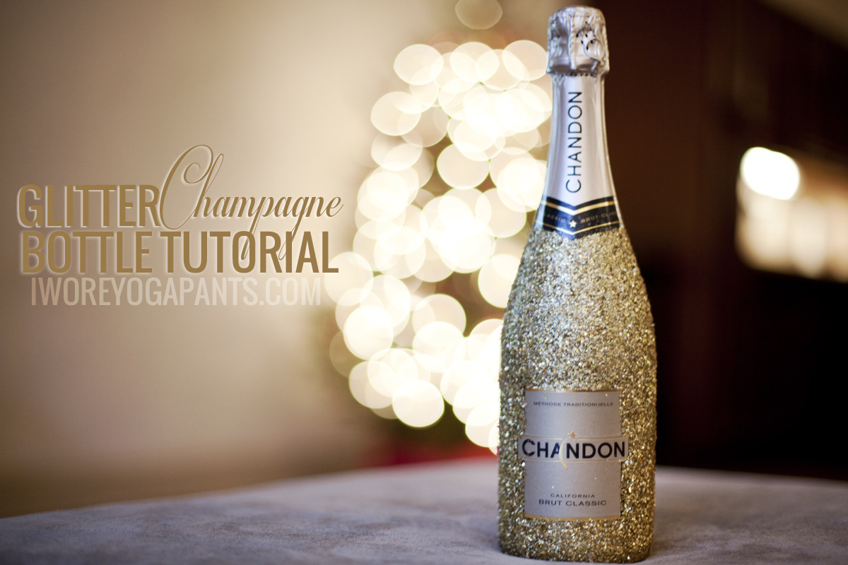 Glitter Covered Champagne Bottle