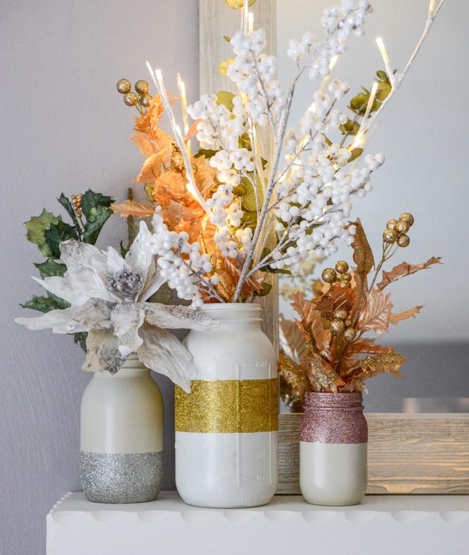 Glittery and Wintry White DIY Mason Jars