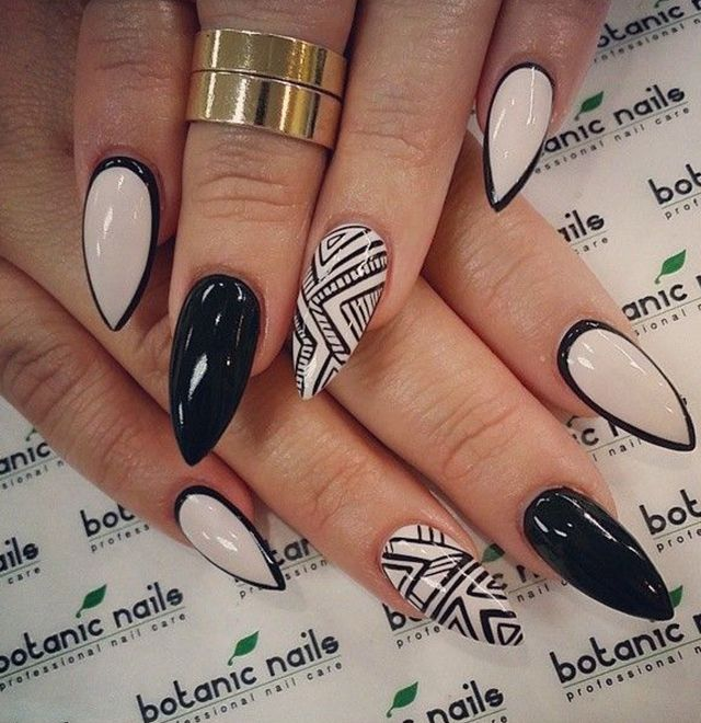 Almond Shaped White And Black Acrylic Nail