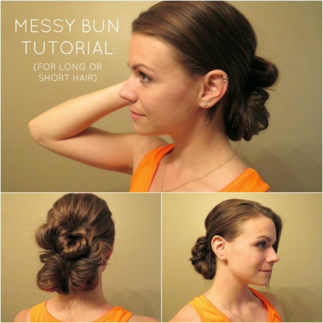 Versatile Messy hair bun.
