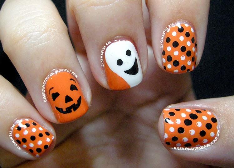 A Happy Pumpkin And Ghost Nail Art
