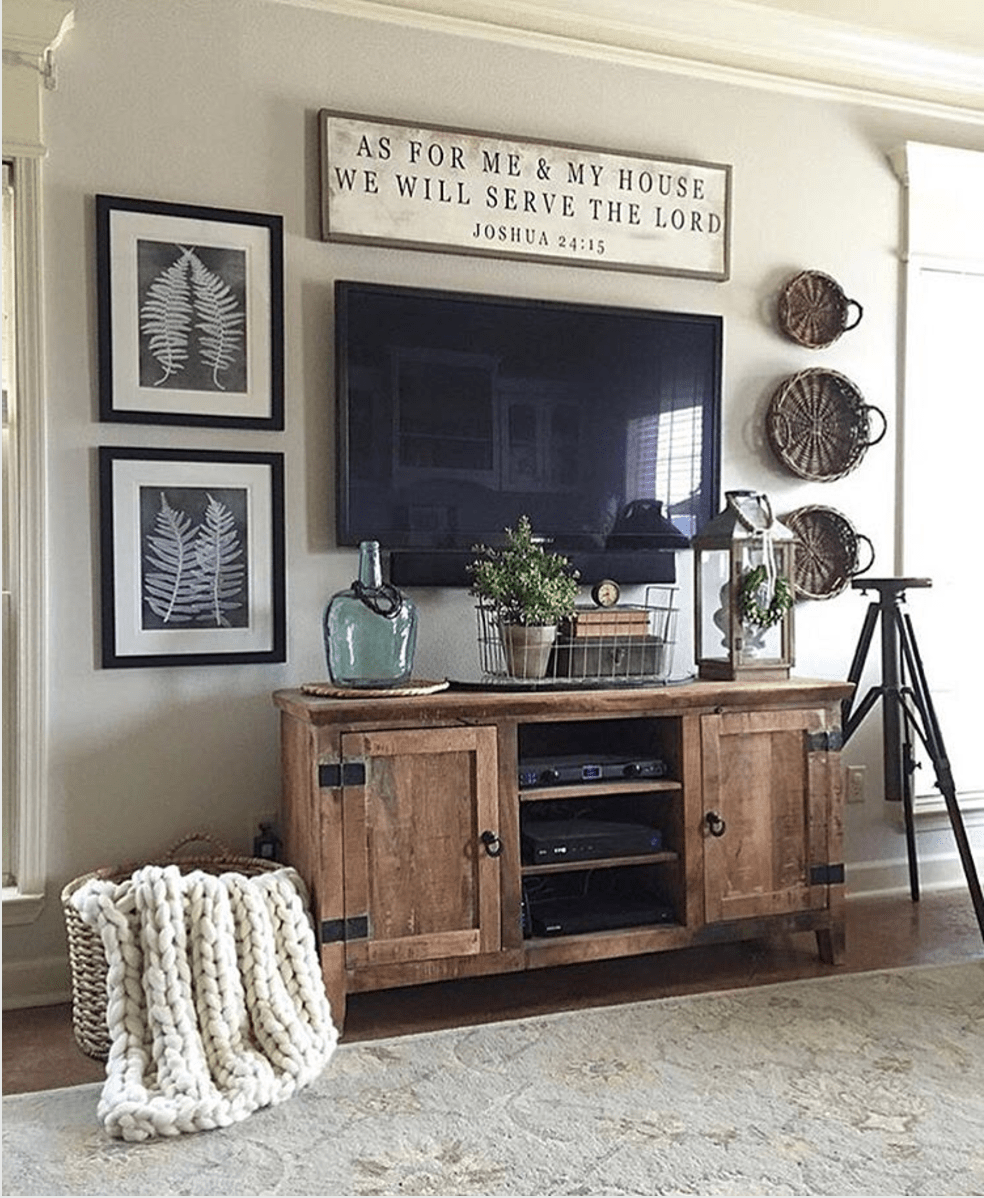 Wooden Cabinet Used as Entertainment Console