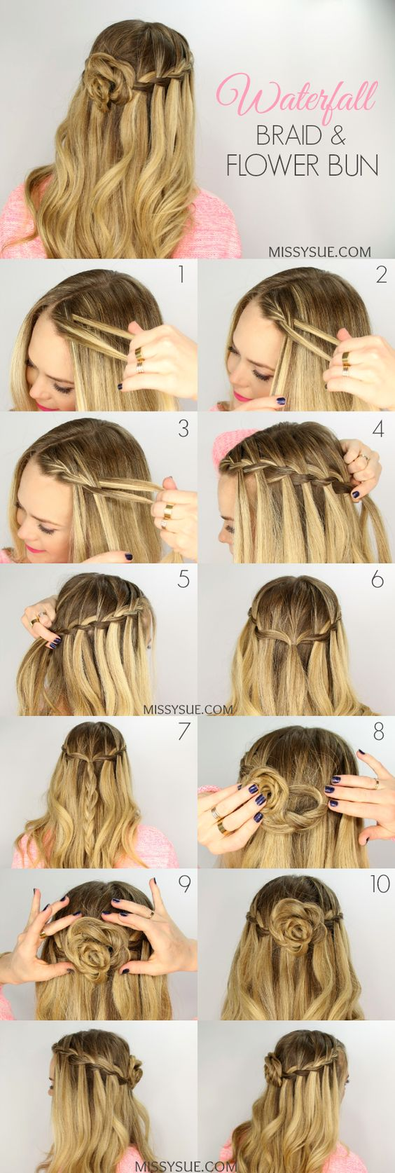 20 waterfall braid tutorials adding beautiful twists and