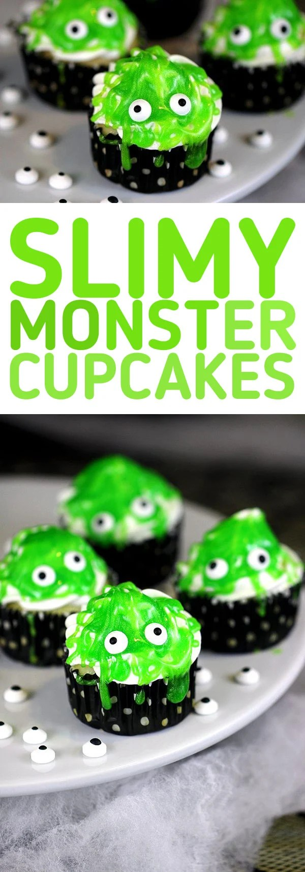 Slimy Monster Cupcakes. Cute and spooky comes together with these super easy cupcakes. Great for Halloween parties and monster theme parties.