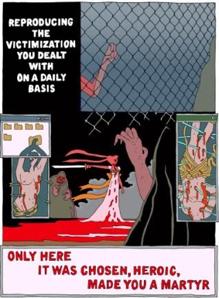 A page from Merritt Kopas' Internet Murder Revenge Fantasy by Alex Degen