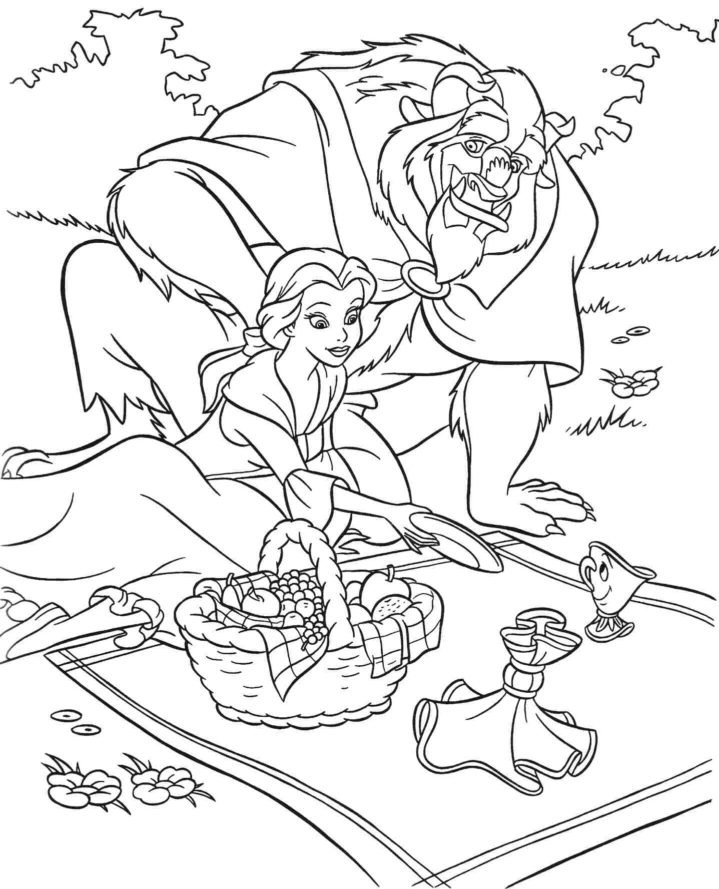 Beauty And The Beast Sheets Coloring Pages