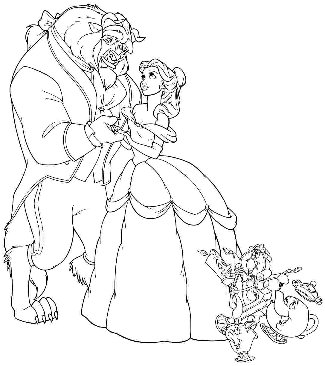 Disney S Beauty And The Beast Colouring Sheets