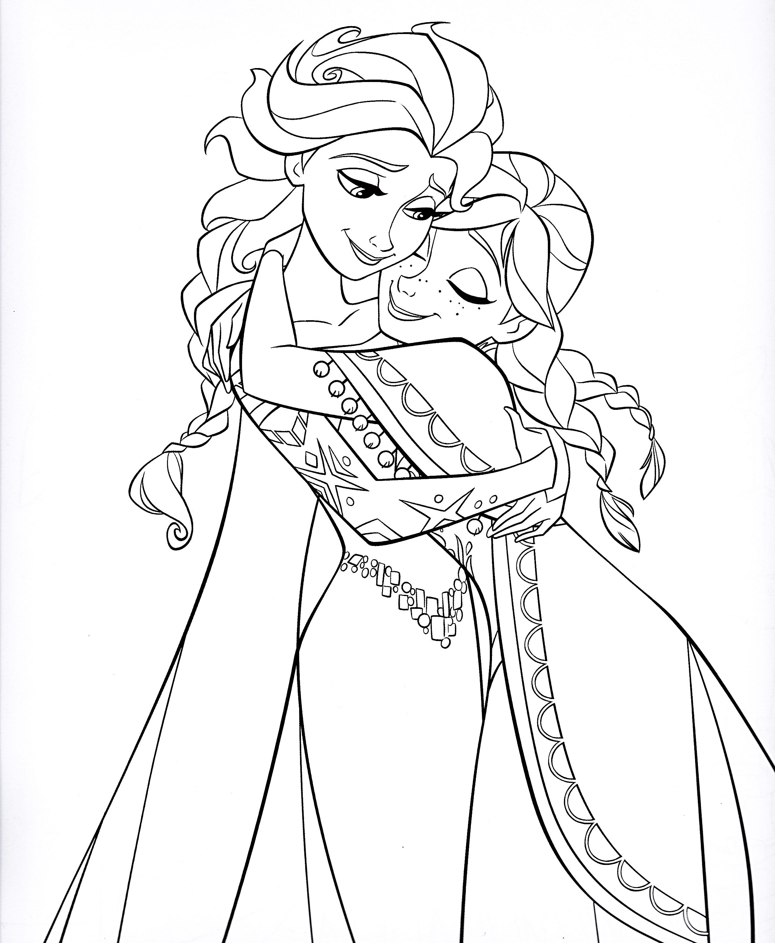 Walt-Disney-Coloring-Pages-Queen-Elsa-Princess-Anna-walt