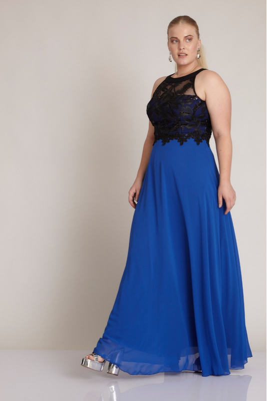 Long Blue and Black Spaghetti Gown