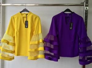 Yellow and Purple Tops With Flay Sleeves