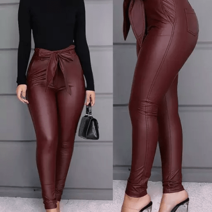 Puleather tie front pant