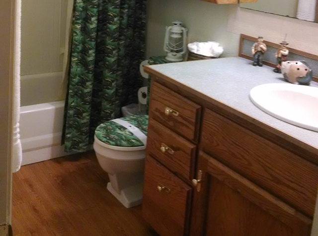 The full size bathroom was called the bass room by a young  guest.  You'll enjoy the abundant supply of soft towels.