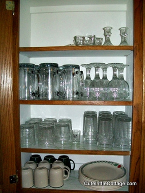 Glassware,Corelle cups and Dinnerware and mugs in this Beaver Lake Cabin Rental