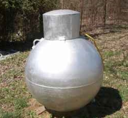 Ball propane tank at Vacation rental Cabin on Beaver Lake Arkansas