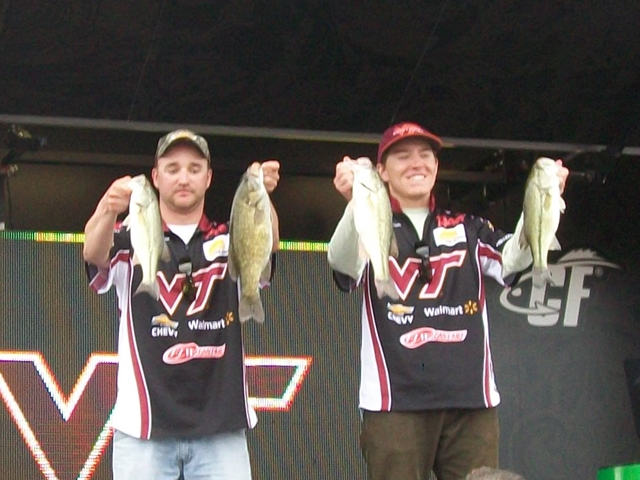 Fishermen that stayed at Cute Little Cottage FLW Tournament all smiles sfowing of their catch