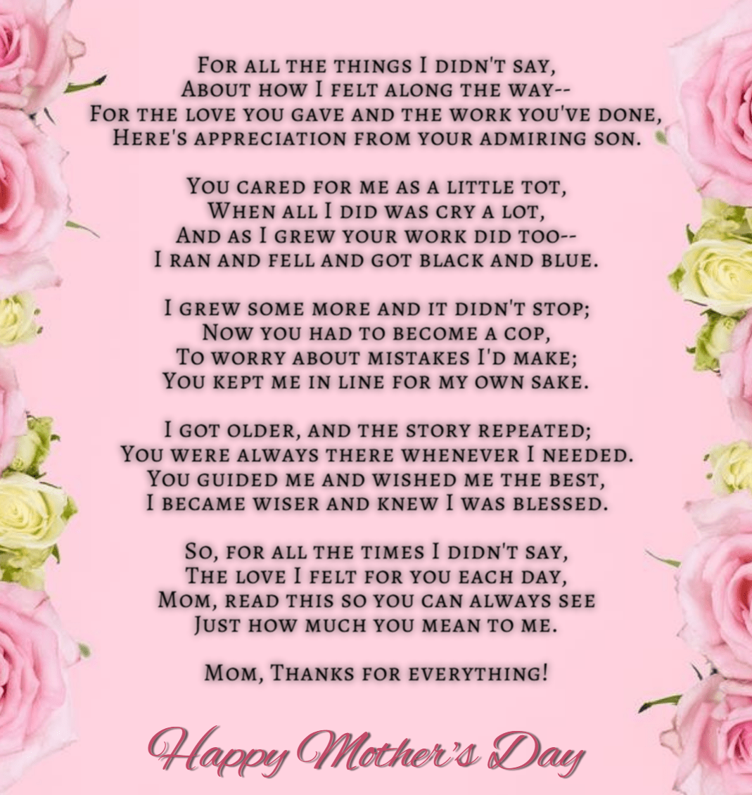25 Best Mothers Day Poems To Make Your Mom Emotional