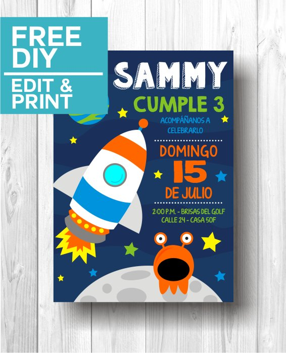 Space Party Invitations template
