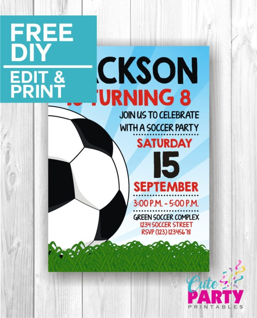 soccer party invitations cute party printables