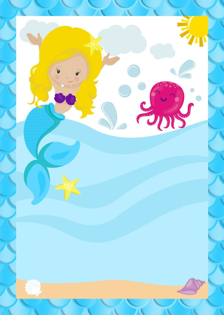 mermaid party invitations cute party printables