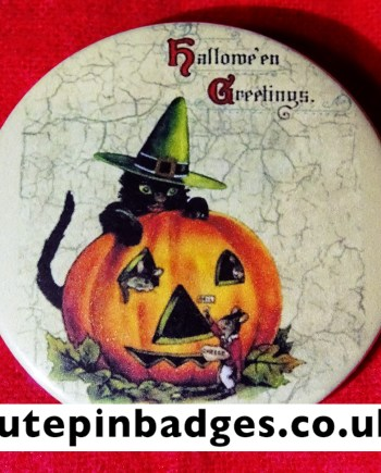 Halloween Greetings Pin Badge Button