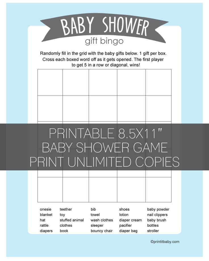 Printable Baby Bingo Template : printable, bingo, template, Shower, Bingo, Instructions, Printable
