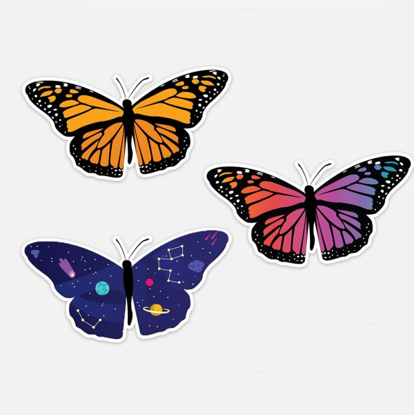 3 Cute Butterfly Sticker Variations
