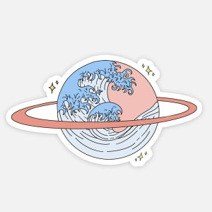 planet sticker space waves aesthetic