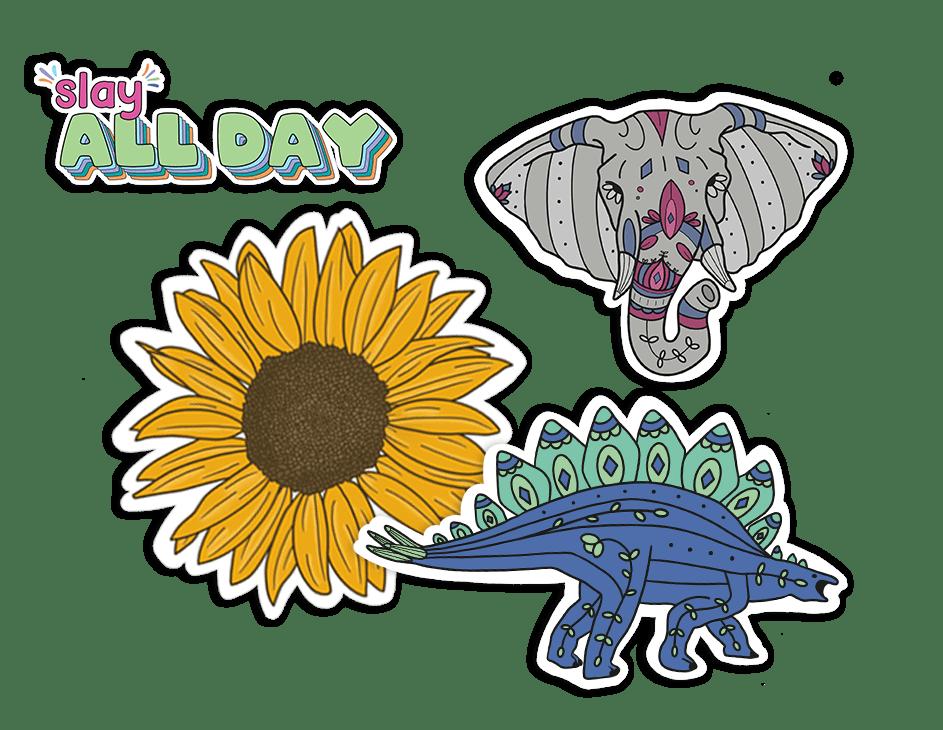 Tiger Sticker and Dinosaur Sticker