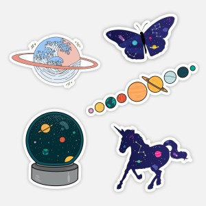cute space sticker pack planets