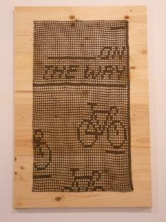 Manodesanta a crochet art exhibit at Miscelanea, Barcelona