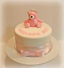 Pink Tattie Teddy Christening Cake