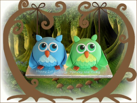 Owl cake for twins
