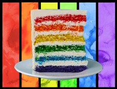 A slice of Rainbow Layer Cake