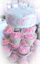 Pink Applique Wedding Cup Cake Tower