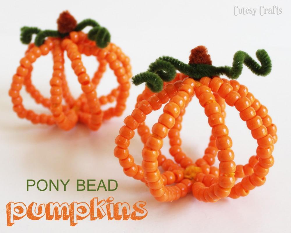 Pony Bead Pumpkins Halloween Kid Craft Cutesy Crafts