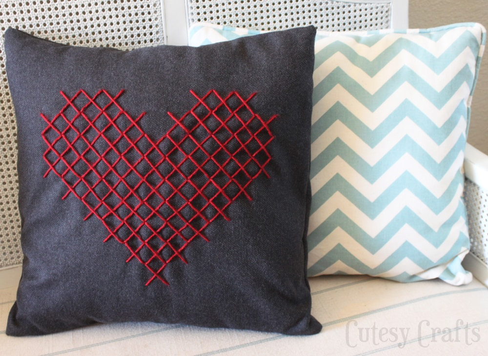 Cross Stitch Heart Pillow for Valentines Day  Cutesy Crafts