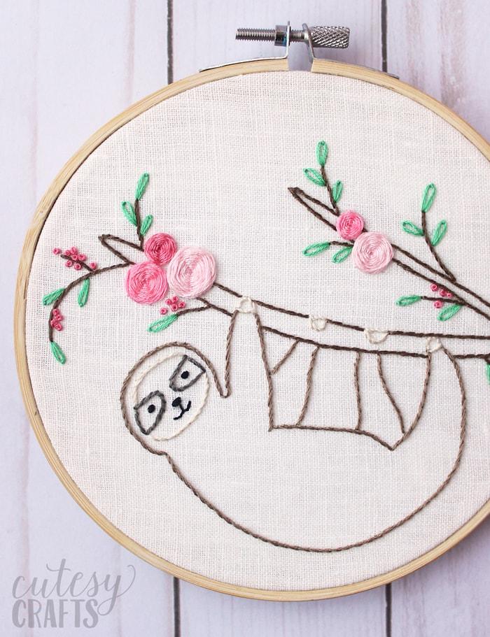 Easy Embroidery : embroidery, Sloth, Embroidery, Pattern, Cutesy, Crafts