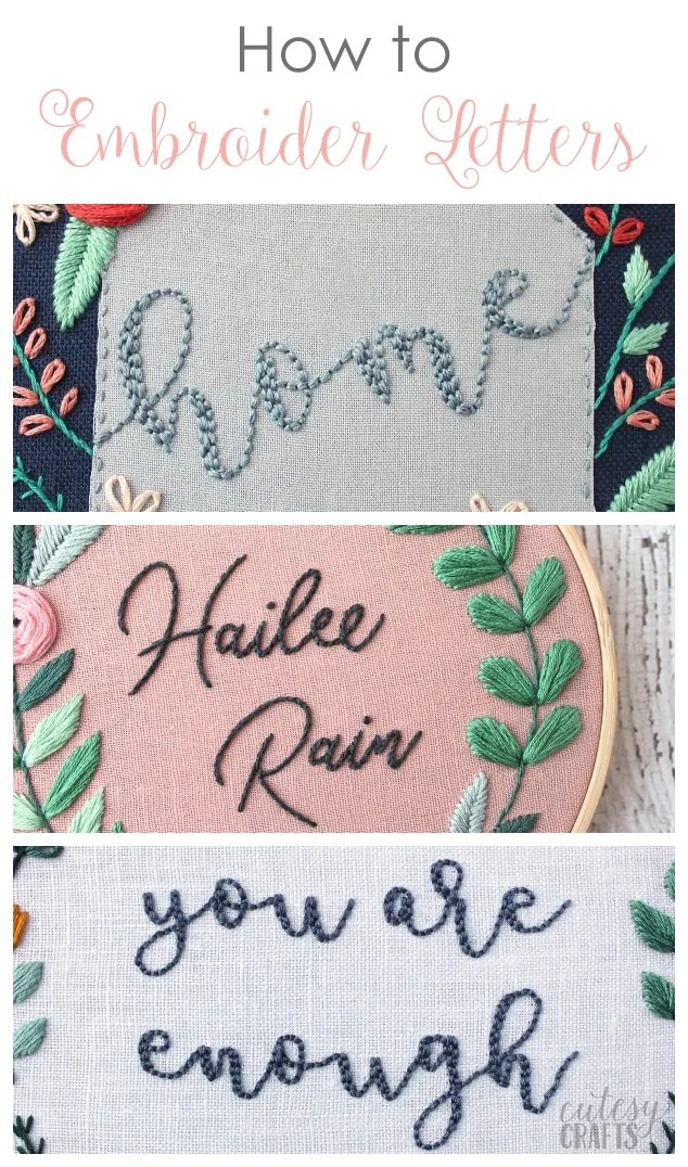 Best Embroidery Stitch For Letters : embroidery, stitch, letters, Embroider, Letters, Cutesy, Crafts