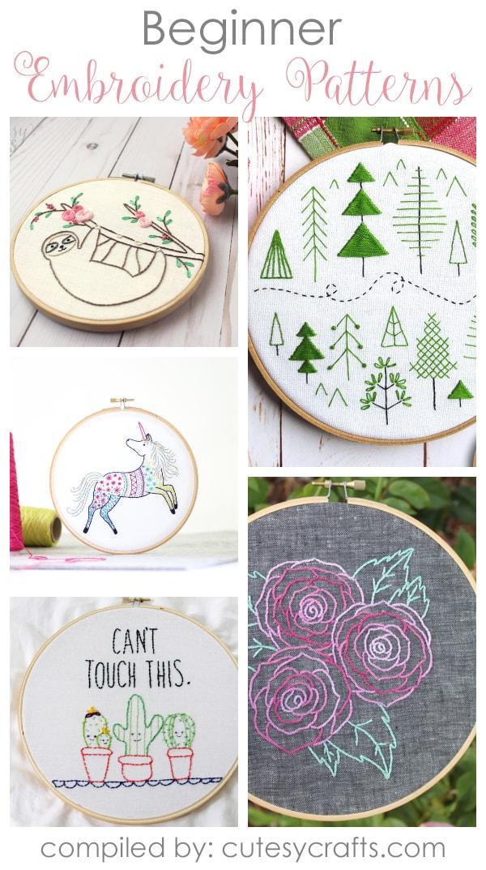 Easy Embroidery : embroidery, Beginner, Embroidery, Patterns, Cutesy, Crafts