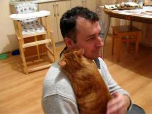 Cute Cat Loves Dad
