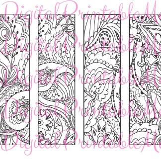Printable Bookmark Coloring Page book mark adult instant download digital  diy art therapy stress colouring jpeg book lover gift sheet 5